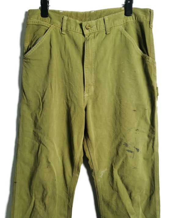 Vintage Carhartt Worker Pants Painted and Distress - image 3