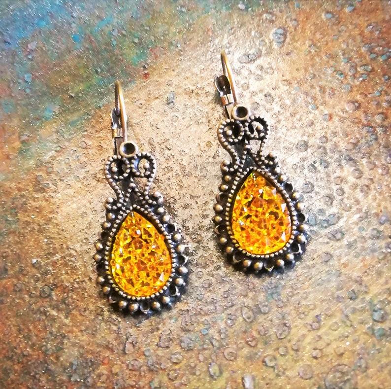 Vintage Jewelry Antique Bronze Teardrop Golden Topaz Rhinestone Lever back Earrings Crystal Earrings Topaz Stone Gift for Mom Citrine