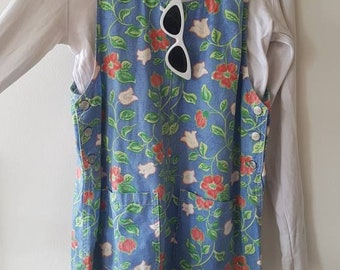 Denim floral vintage pinagore overalls