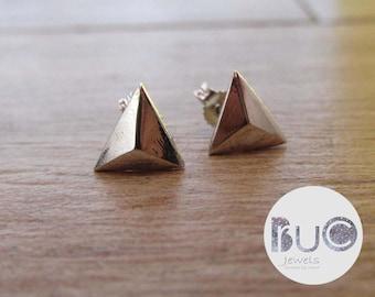 Pyramid Earrings 3d Geometric triangle minimal by brucojewels