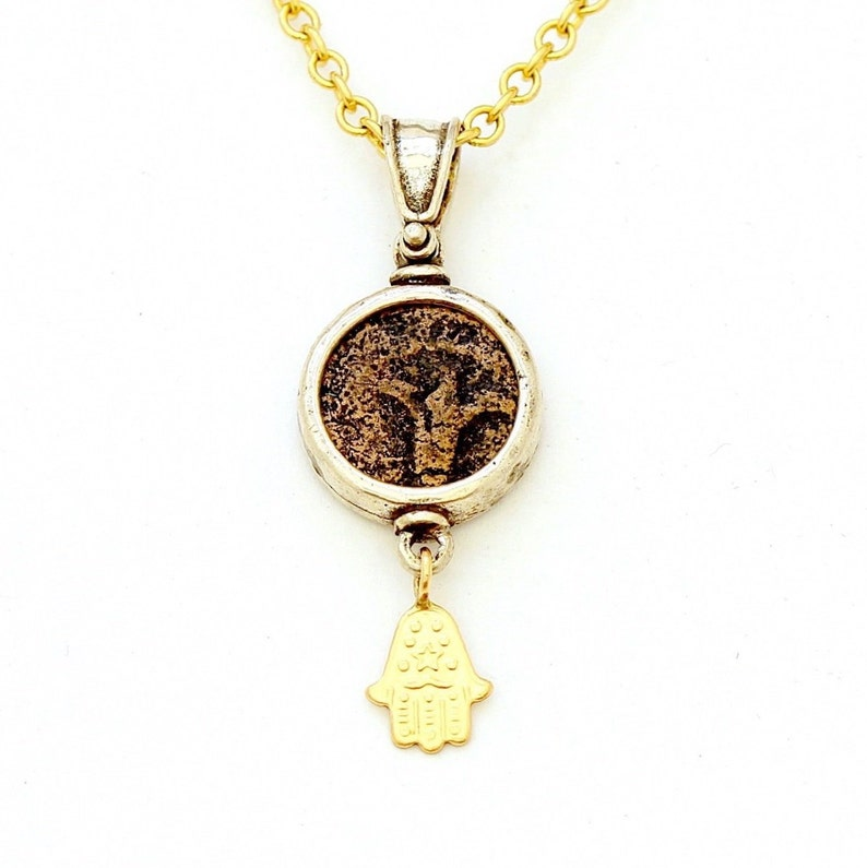 Genuine Artifact Lily of Jerusalem Jewish Ancient Coin with Certificate 6526 Sterling Silver Pendant