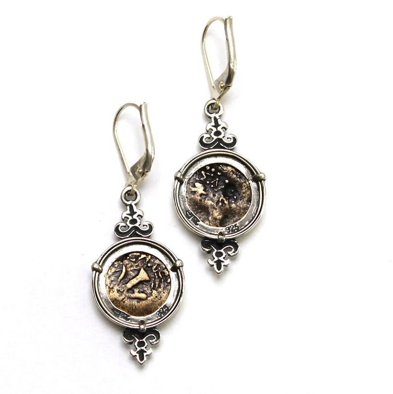Silver Earrings Prutah Coins Widows Mite 6680