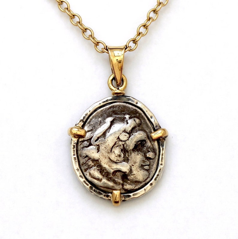 7b206d0a4 Alexander The Great Coin Necklace 14K Gold Sterling Silver   Etsy