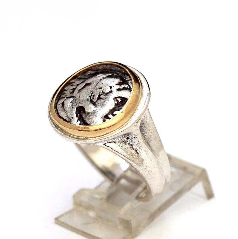 d89e32c6e Alexander the Great Ring 14K Gold Silver Shank Authentic   Etsy