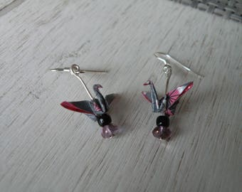 Earrings with pearls origami cranes