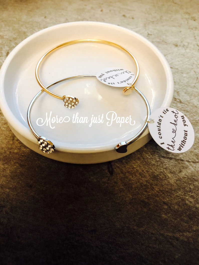 bridesmaid personalized gift Bracelets Customized tag included wedding Unique Heart Bangles gift for her