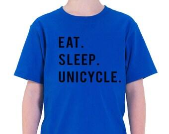 Unicycle shirt - Eat Sleep Unicycle t shirt Gift for Boys Girls Teens - 769