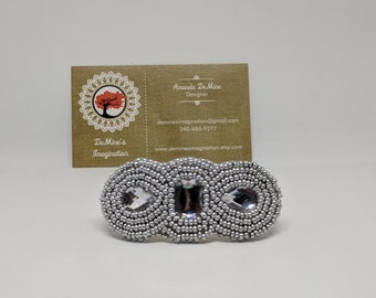 Silver beaded embroidered hair barrette