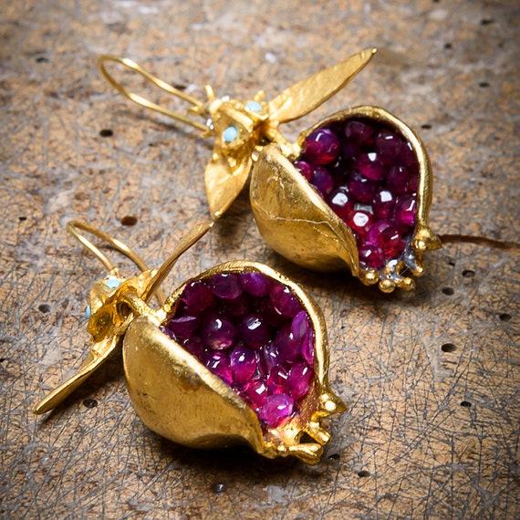 18K-24K gold Bronze Pomegranate Design Earrings