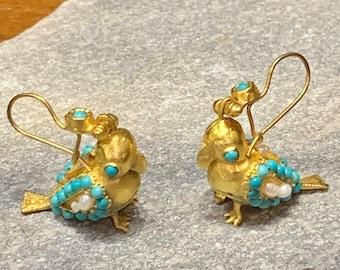 Bird design handmade earrings,dangling earrings, chandelier earrings,gold earrings,bestselling ,turquoise,gemstone,pearls,drop earrings