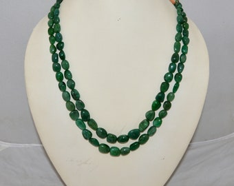 100% Natural Beryl Emerald Smooth Tumble , Beads Size 9x7 , 15x9 mm Approx 18'' inch . 2 Strand 435carat ,