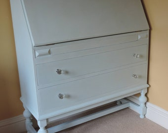 Writing Bureau with 2 drawers and secret drawer in Light Blue chalk paint