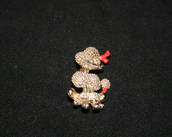 Vintage Shiny Golden French Poodle Dog Pin 1-1/4 inch  great GIFT for Grandma/Mom/Daughter/Girlfriend red bows/cute face/ pompom tail