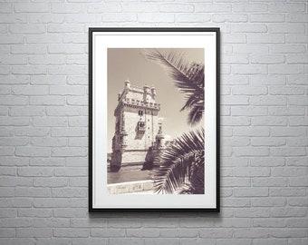 Lisbon Dream Photographic Print, Portugal, Monochrome, Black and White, Beach, Travel, Architecture Photography, Home Decor, Wall Art