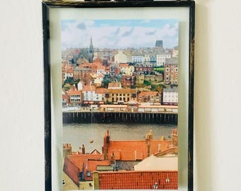 Framed Whitby Print, England, British, Coastal, Architecture, Photography, Home Decor, Home & Giftware