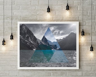 Lake Louise Geometric Photographic Print, Rocky Mountains, Canada, Alberta, Landscape Photography, Graphic Design