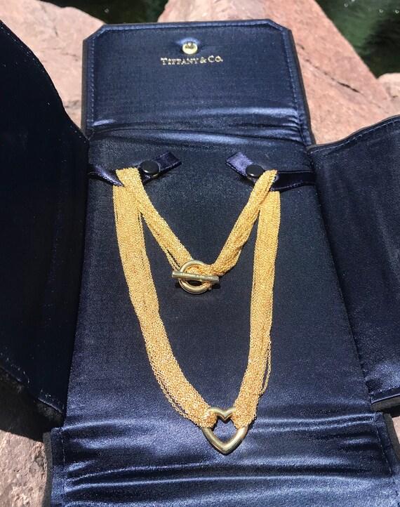 18k Tiffany's Multi Chain & Heart Necklace by Elsa