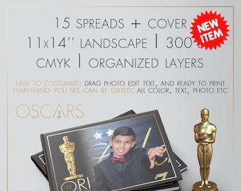 "Digital Album ""Oscar"" | PSD Template | CMYK | 11x14"" Landscape | 300DPI | 15 Unique Spreads + Cover"