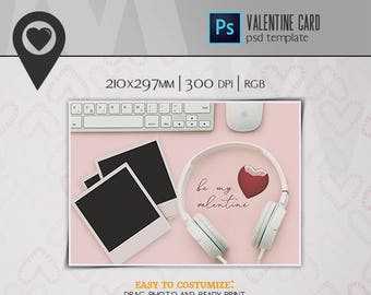 Valentine's Day Card | PSD Template | Mockup
