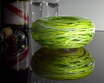 Hand Blown Lime Green & Clear Glass Bowl