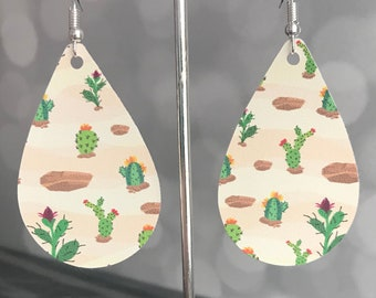 Cactus Earrings- Southwestern Earrings- Dangle Earrings- Statement Earrings- Handmade Earrings-Gifts For Her- Limited Edition