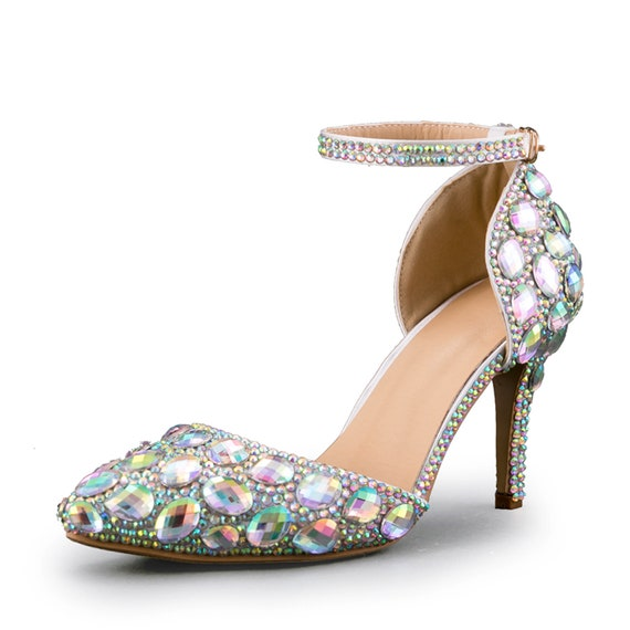 Irridescent Wedding Heelswedding Shoespointed Toe Bridal Etsy