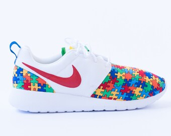 sale retailer 98ef8 b64a7 reduced nike air huarache woven toe d9bd7 9534f  uk autism awareness custom  nike shoes handmade edition available in all sizes 19699 98ecf