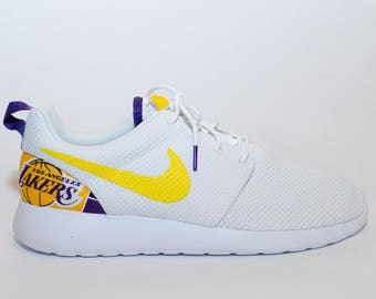 3406a0706bb7 Custom Los Angeles Lakers Nike Shoes handmade edition w  custom insoles  available in all sizes