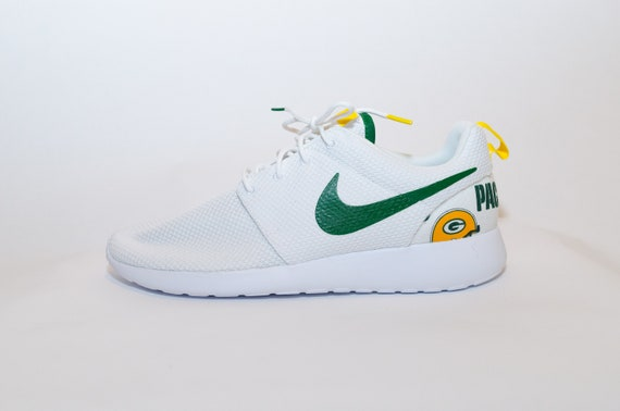 4cb068d842c1d9 ... Green Bay Packers Custom Nike Shoes handmade edition w custom Etsy  NFL  Green Bay Packers Nike Roshe Run One Shoe Sneaker ...