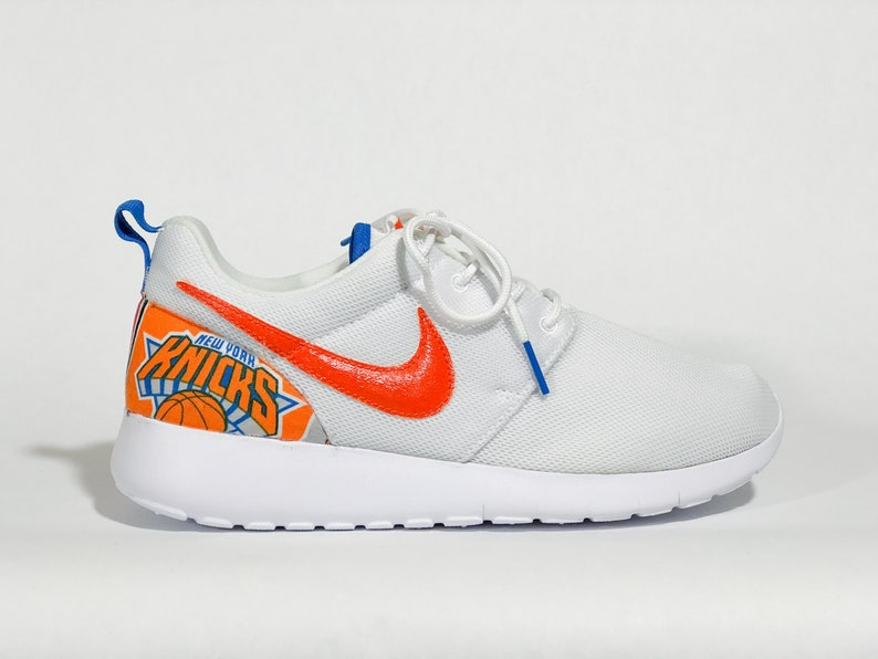 48819215bb6fa New York Knicks Custom Nike Shoes White handmade edition w/ custom insoles  available in all sizes