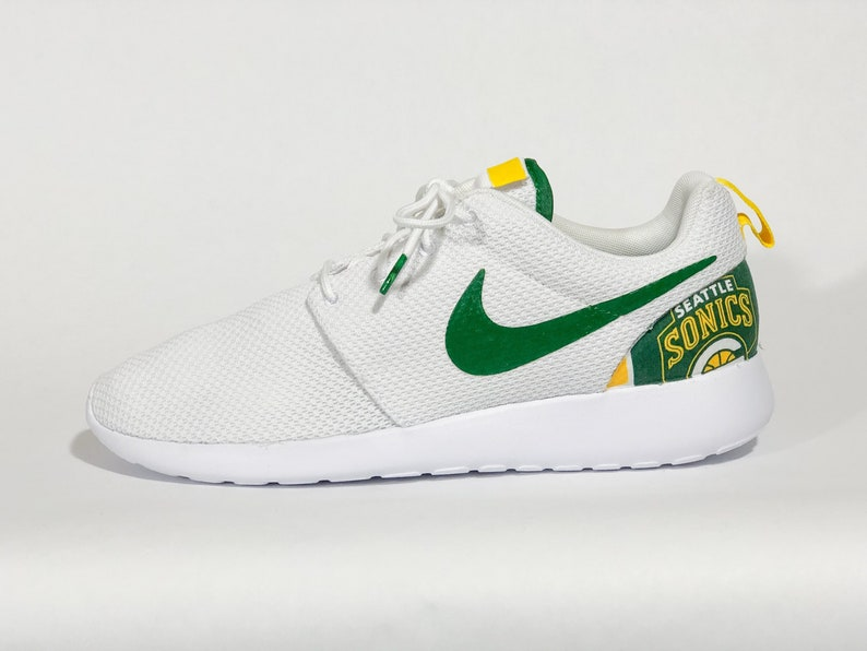 af6f67ba8b36e Seattle Sonics Custom Nike Shoes White handmade edition w/ custom insoles  available in all sizes