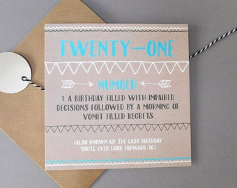Funny Twenty First 21st Birthday Card Cards Age Adult Humour Humor Joke DEF10