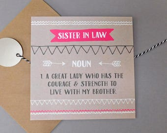 Funny Card For Sister In Law Humour Cards Birthday Gift DEF41