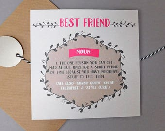 Funny card for best friend card funny cards humour cards best friend cards bezzie definition best friend birthday gift for friend (DEF48)