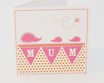 Cute mothers day card  mothers day cards Birthday card mum card for mum mam mom mommy mummy hedgehog  (FT06)
