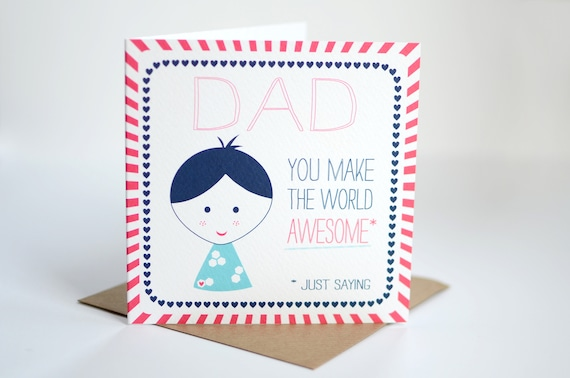 Fathers day card dad birthday card for daddy awesome dad etsy m4hsunfo
