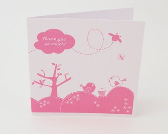 Thank you card thanks card thanks you greeting card thanks thank you cards greeting cards birds cupcake cute thank you card (FT016)