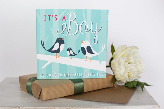 Cute baby boy card its a boy new baby card newborn welcome baby special delivery baby shower gift baby shower new baby gift FT013