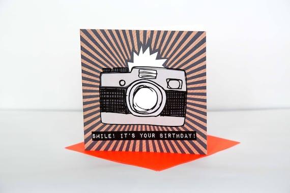 Happy Birthday Card Photographer Smile Camera Birthday Etsy