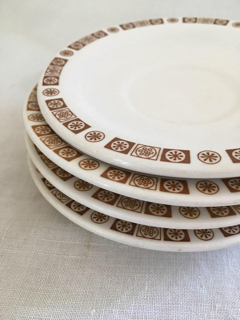 Atomic Brown Buffalo China Restaurant Ware Set of Retro Plates