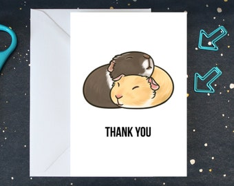 Guinea Pig Thank You Card, Animal Thank You Card, Hugging Guinea Pigs - PPGPTYC001