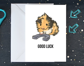 Guinea Pig Good Luck Card, Exams, Driving Test, Moving, New Job, Guinea Pig with Horseshoe - A6 - PPGPGLC001