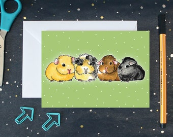 Guinea Pig Card - Guinea Pigs on Green Dotted Background - A6