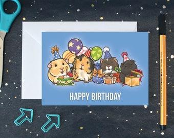 Guinea Pig Birthday Card, Guinea Pig Card, Guinea Pig Greetings Card, Animal Birthday Card - A6 Card
