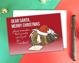 Dear Santa, Guinea Pig Christmas Card, Guinea Pig Xmas, Guinea Pig Gifts, Cavy Christmas Card - Worldwide Shipping.