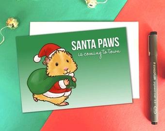 Santa Paws, Guinea Pig Christmas Card, Guinea Pig Xmas, Guinea Pig Gifts, Cavy Christmas Card - Worldwide Shipping.