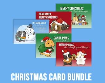 BUNDLE - Guinea Pig Christmas Cards, Guinea Pig Xmas, Guinea Pig Gifts, Cute Christmas Card - Worldwide Shipping.