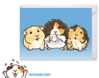 Guinea Pig Card, Animal Birthday Card, Multiple Breed Guinea Pigs, Shorthaired, Abyssinian, Longhaired, Peruvian, Silkie