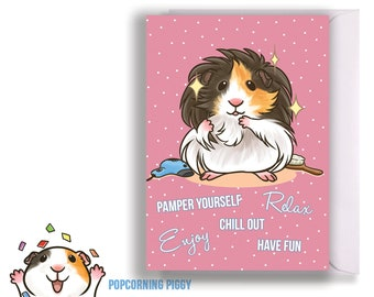 Guinea Pig Card, Pamper, Relax, Spa, Long Haired Guinea Pig on Pink Dotted Background - A6