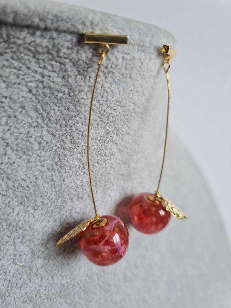 18k Red long cherries earrings
